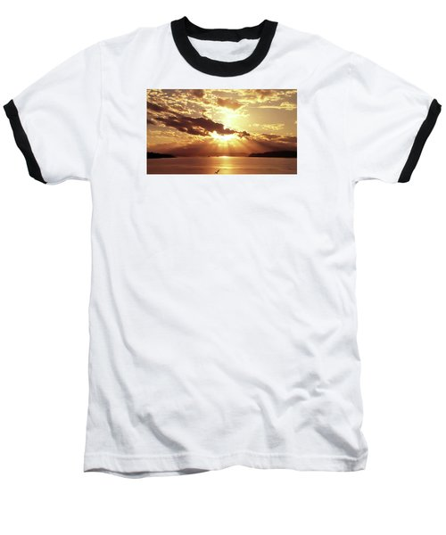 Baseball T-Shirt featuring the photograph Hood Canal Sunset by Eddie Eastwood