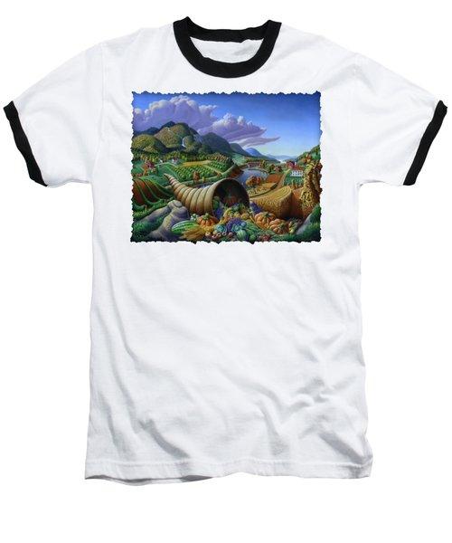 Horn Of Plenty - Cornucopia - Autumn Thanksgiving Harvest Landscape Oil Painting - Food Abundance Baseball T-Shirt