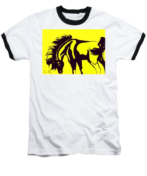 Horse-black And Yellow Baseball T-Shirt by Loxi Sibley