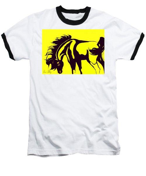 Horse-black And Yellow Baseball T-Shirt