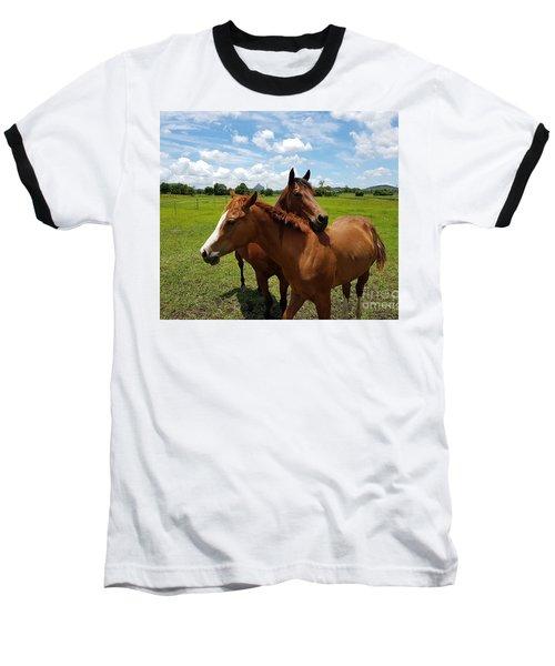 Horse Cuddles Baseball T-Shirt