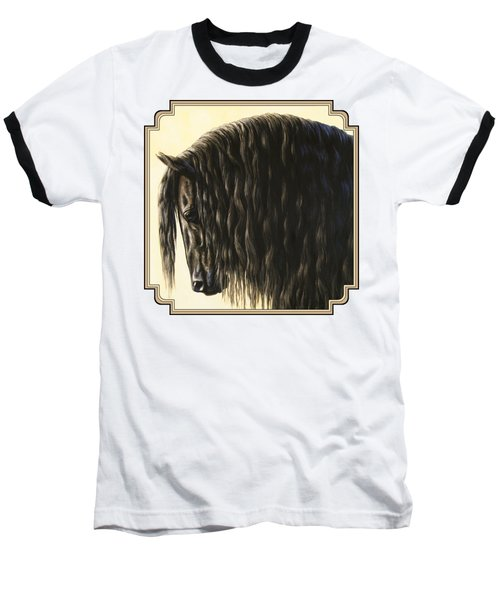 Horse Painting - Friesland Nobility Baseball T-Shirt by Crista Forest