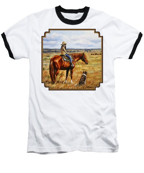 Horse Painting - Waiting For Dad Baseball T-Shirt by Crista Forest