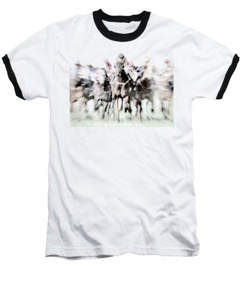 Horse Racing - Parallel Hatching Baseball T-Shirt
