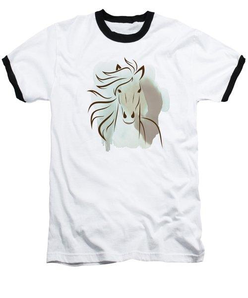 Horse Wall Art - Elegant Bright Pastel Color Animals Baseball T-Shirt by Wall Art Prints