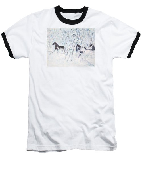 Horses Running In Ice And Snow Baseball T-Shirt