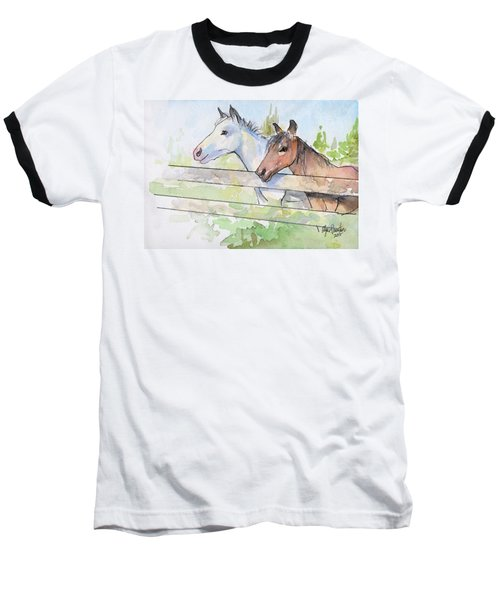 Horses Watercolor Sketch Baseball T-Shirt