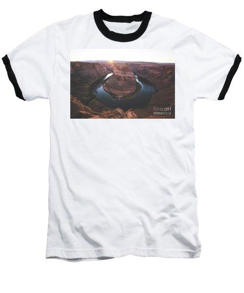 Horseshoe Bend Sunset Baseball T-Shirt by JR Photography