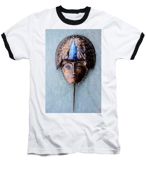 Horseshoe Crab Mask Peacock Helmet Baseball T-Shirt by Roger Swezey