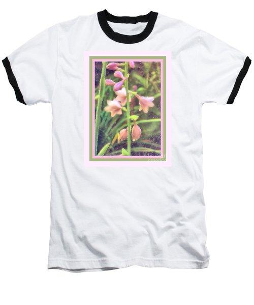 Hosta Bloom Pink Frame Baseball T-Shirt