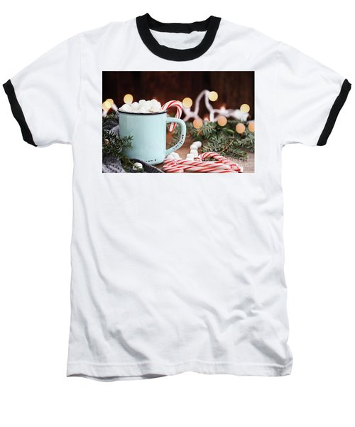 Hot Cocoa With Marshmallows And Candy Canes Baseball T-Shirt by Stephanie Frey