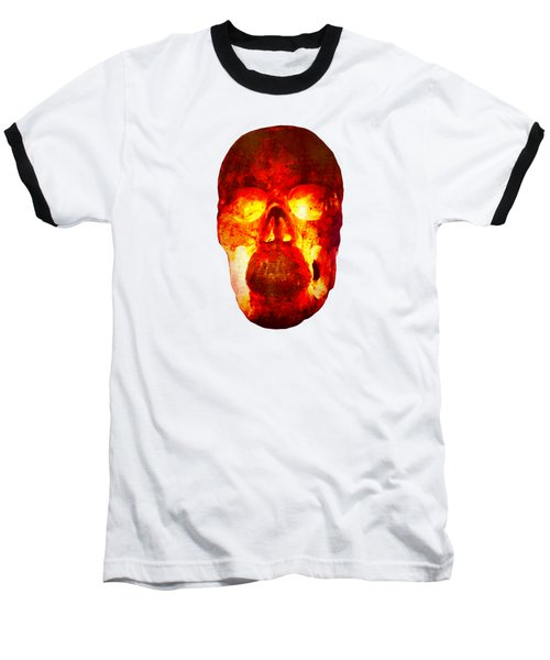 Hot Headed Skull On Transparent Background Baseball T-Shirt