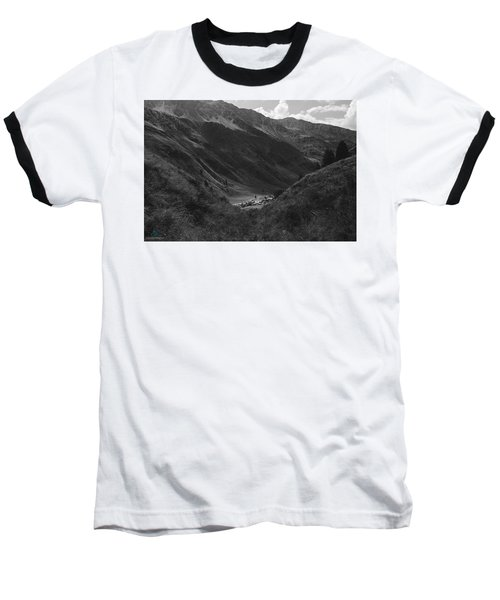 Hugged By The Mountains Baseball T-Shirt by Cesare Bargiggia