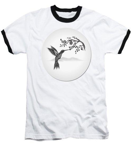 Hummingbird On Oval Baseball T-Shirt