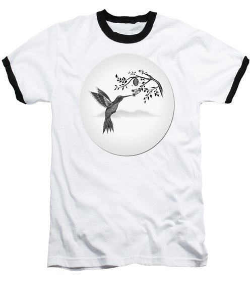 Humming Bird On Oval Baseball T-Shirt