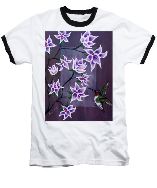 Hummingbird Delight Baseball T-Shirt by Teresa Wing