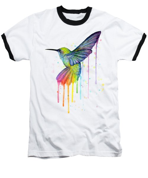 Hummingbird Of Watercolor Rainbow Baseball T-Shirt