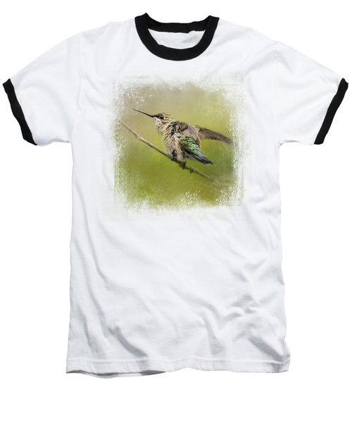 Hummingbird On Lime Baseball T-Shirt