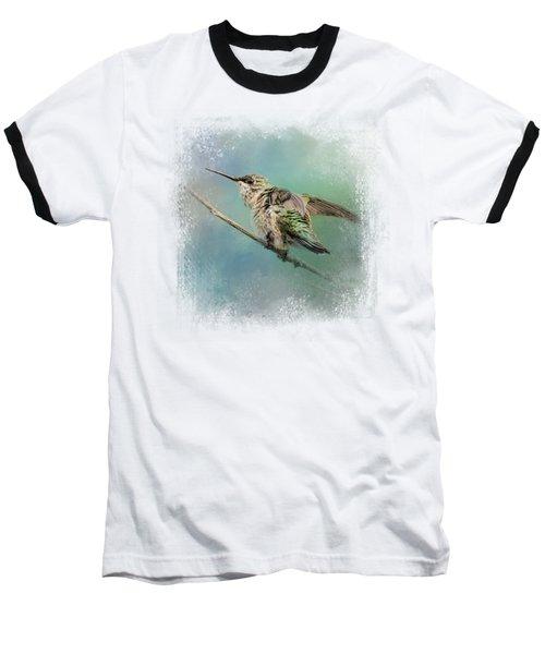 Hummingbird On Mint Baseball T-Shirt