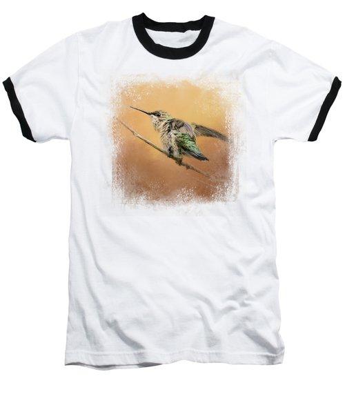 Hummingbird On Peach Baseball T-Shirt by Jai Johnson