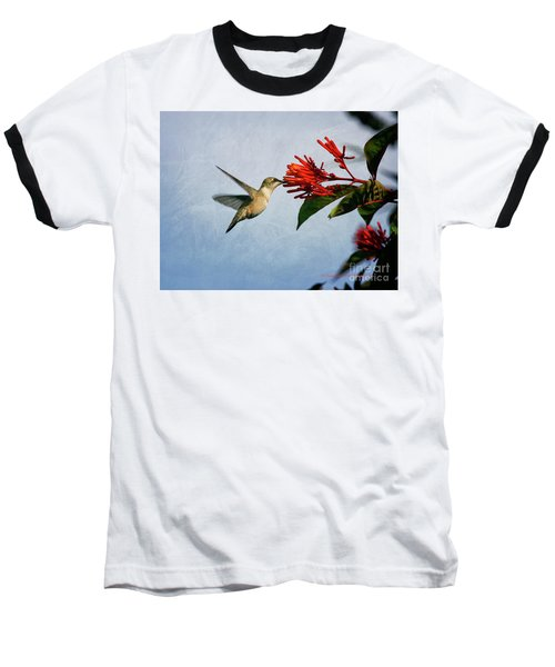 Hummingbird Red Flowers Baseball T-Shirt