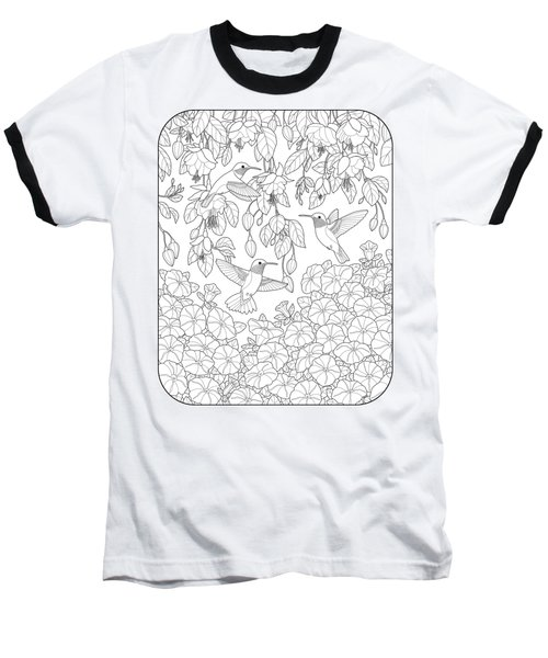 Hummingbirds And Flowers Coloring Page Baseball T-Shirt by Crista Forest