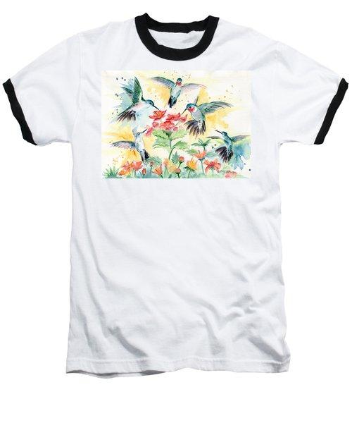 Hummingbirds Party Baseball T-Shirt by Melly Terpening
