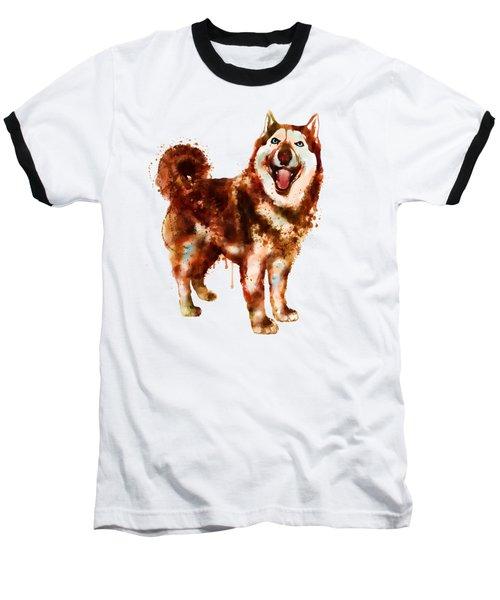 Husky Dog Watercolor Baseball T-Shirt