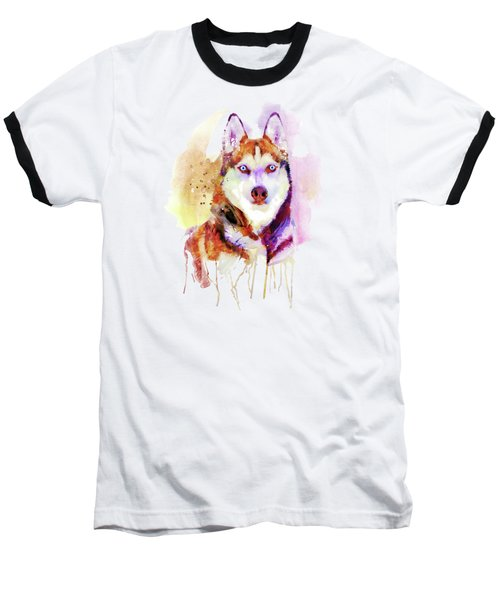 Husky Dog Watercolor Portrait Baseball T-Shirt