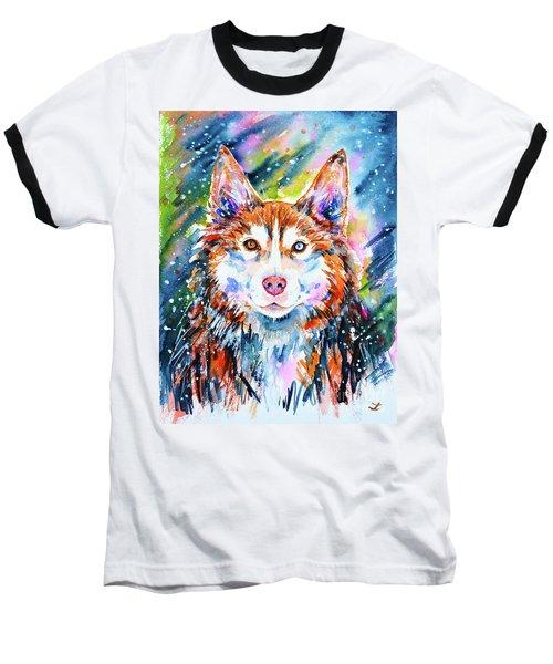 Baseball T-Shirt featuring the painting Husky by Zaira Dzhaubaeva