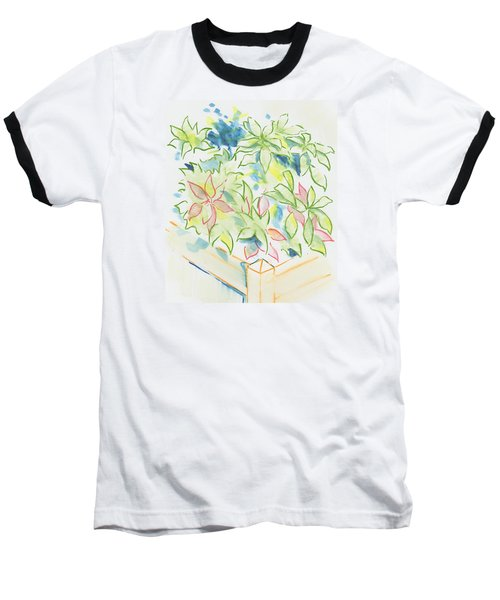 Hydrangea Plant Growing Out Of A Square Wooden Planter Baseball T-Shirt