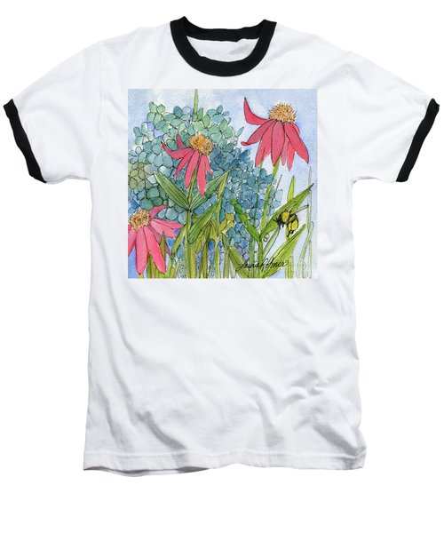 Hydrangea With Bee Baseball T-Shirt