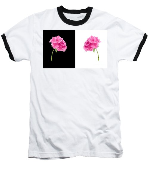 Hydrangeas On Black And White Baseball T-Shirt