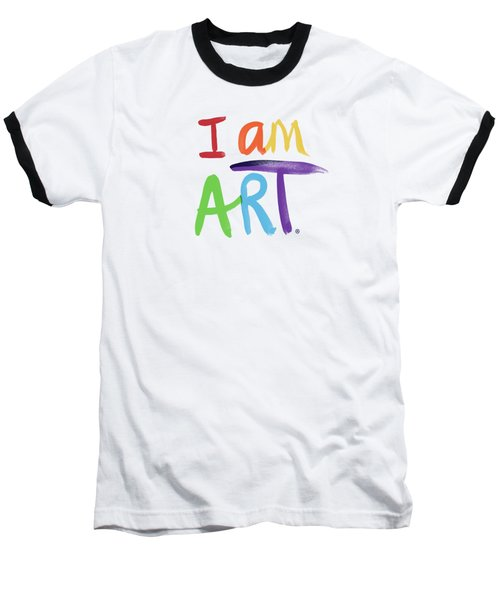 I Am Art Rainbow Script- Art By Linda Woods Baseball T-Shirt