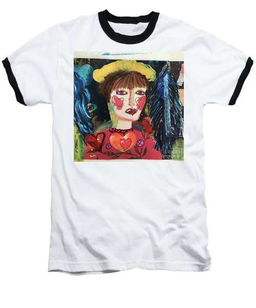 Baseball T-Shirt featuring the painting I Carry Your Heart In My Heart by Kim Nelson