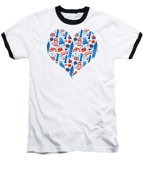 I Love England A Pattern For Anglophiles Baseball T-Shirt