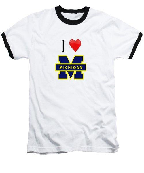 I Love Michigan Baseball T-Shirt by Pat Cook