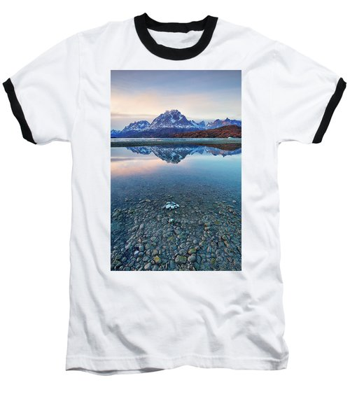 Icebergs And Mountains Of Torres Del Paine National Park Baseball T-Shirt by Phyllis Peterson