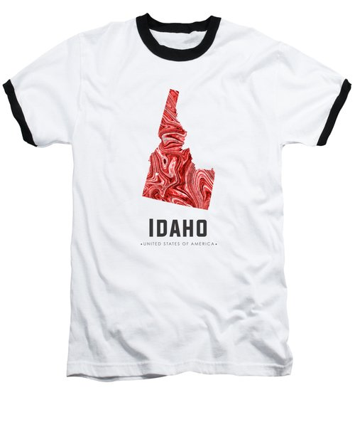 Idaho Map Art Abstract In Red Baseball T-Shirt