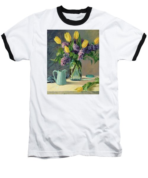 Ideal - Yellow Tulips And Lilacs In A Blue Mason Jar Baseball T-Shirt by Bonnie Mason