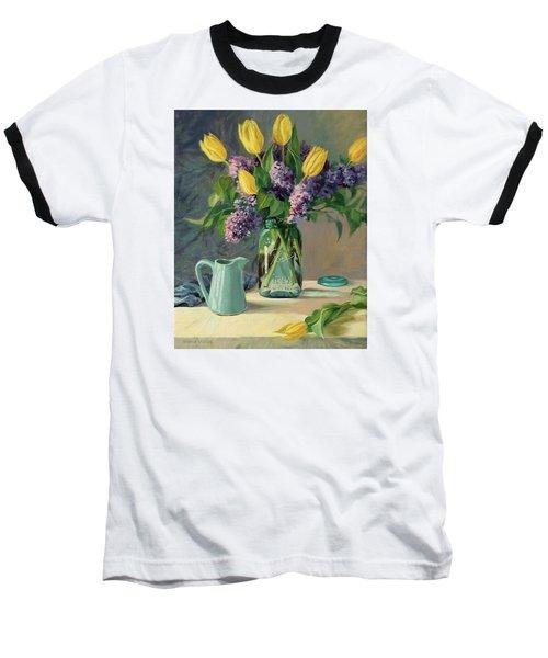 Ideal - Yellow Tulips And Lilacs In A Blue Mason Jar Baseball T-Shirt