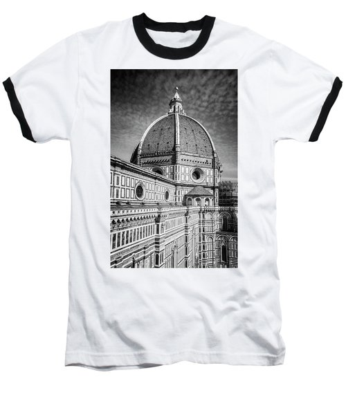 Baseball T-Shirt featuring the photograph Il Duomo Florence Italy Bw by Joan Carroll