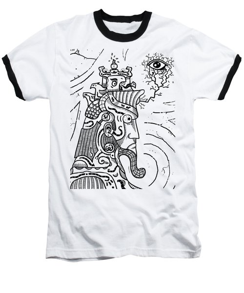 Surrealism Illuminati Black And White Baseball T-Shirt