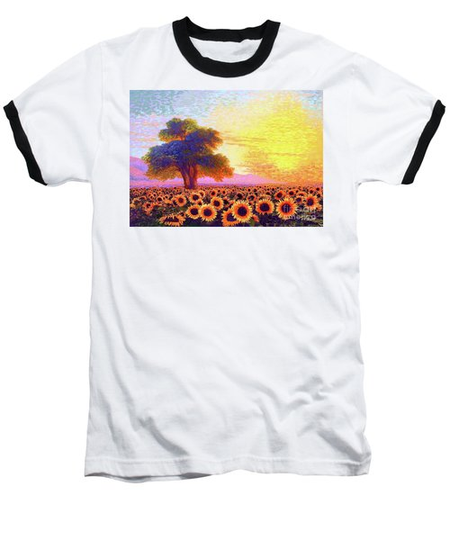 In Awe Of Sunflowers, Sunset Fields Baseball T-Shirt