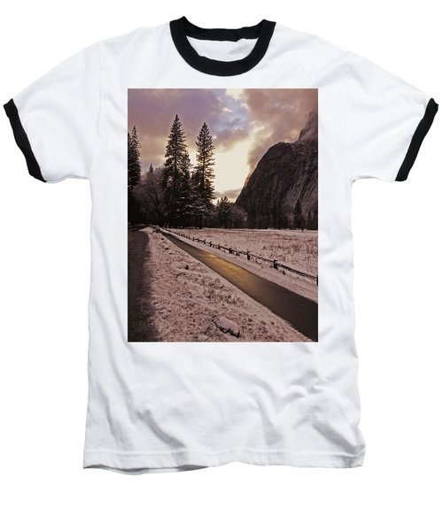 In Between Snow Falls Baseball T-Shirt by Walter Fahmy
