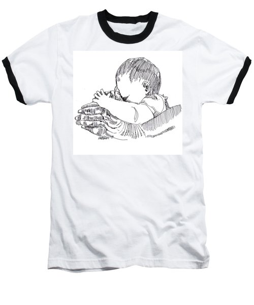 Baseball T-Shirt featuring the drawing In His Hands by Seth Weaver