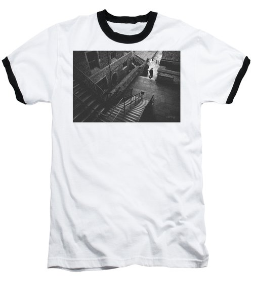In Pursuit Of The Devil On The Stairs Baseball T-Shirt by Joseph Westrupp