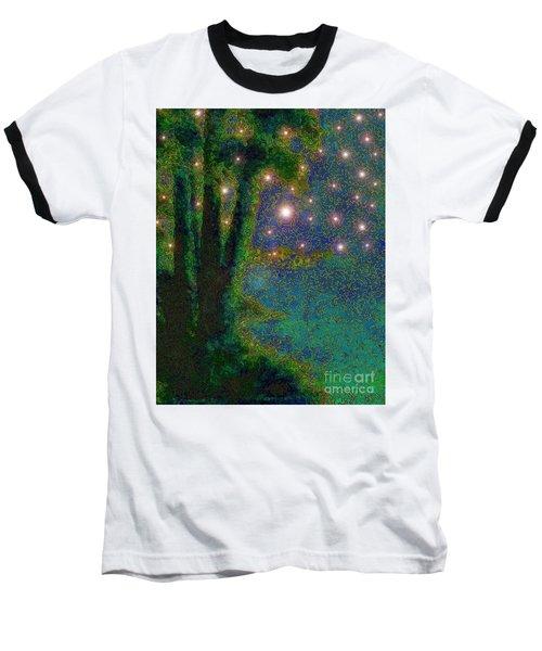In The Beginning God... Baseball T-Shirt by Hazel Holland