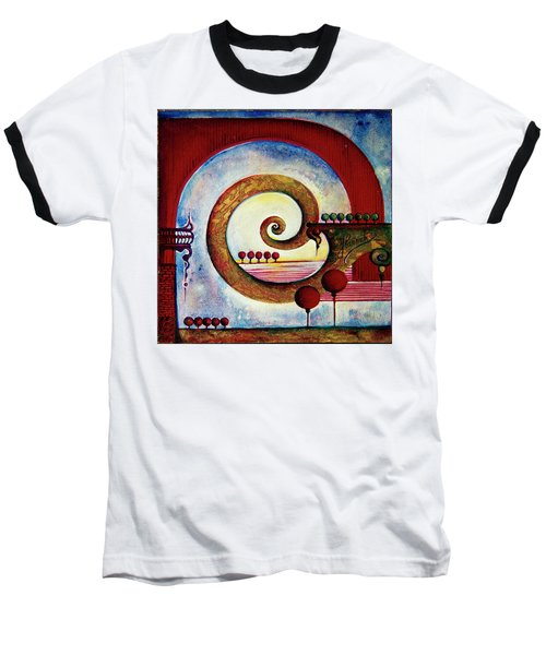 Baseball T-Shirt featuring the painting In The World Of Balance by Anna Ewa Miarczynska