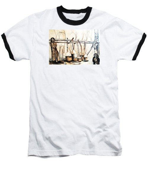Indians Making Maple Sugar. Cass Lake. 1905  Baseball T-Shirt by Ayasha Loya